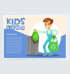 Blue card with boy throwing away bin bags filled vector