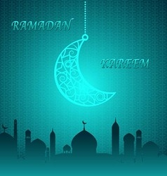 Blue Theme Ramadan Kareem Background vector image