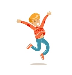 Boy jumping traditional male kid role expected vector