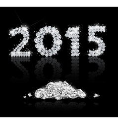 Brilliant text for the new year 2015 with diamonds vector