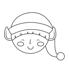 Christmas elf character isolated icon vector