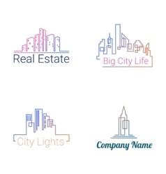 City buildings logo silhouette icons vector image