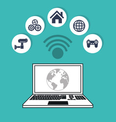 Computer world internet things concept design vector
