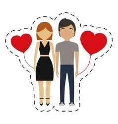 Couple together red hearts balloon vector