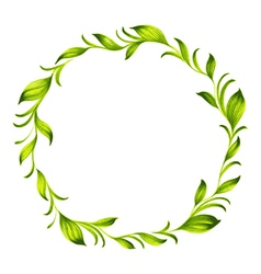Decorative circle branch of green tea vector