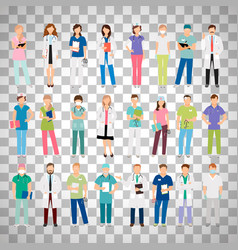 doctors and nurses on transparent background vector image
