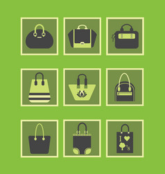 feminine green purses and hand bags icons set vector image vector image