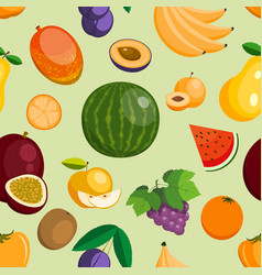 Fruits exotic apple banana and papaya flat vector