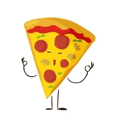 Funny fast food pizza slice icon vector