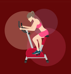 Girl woman work-out in static bike fitness vector