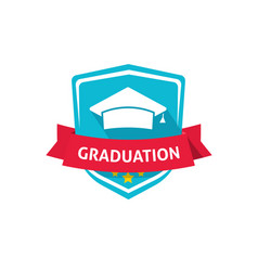 graduation emblem school or vector image vector image