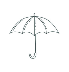 Gray silhouette with opened umbrella vector