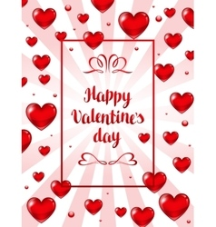 Happy Valentine day greeting card with red vector image vector image