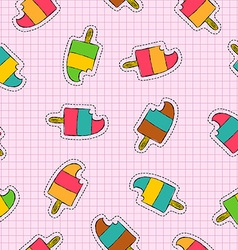 Ice cream popsicle patch icon seamless pattern vector
