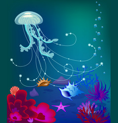jelly fish underwater world sea shell vector image