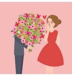 Man give large flower bouquet to his girl friend vector