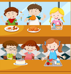 Many kids eating in the canteen vector