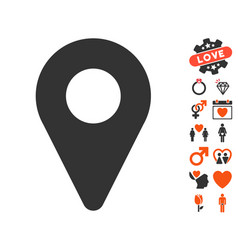 map marker icon with dating bonus vector image
