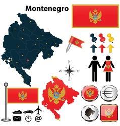 Map of Montenegro vector image vector image