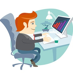 Office man sitting at his working desk vector image vector image
