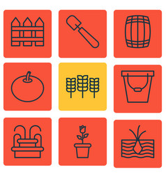 Set of 9 garden icons includes wheat barrier vector