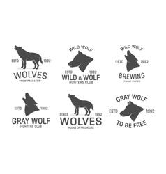 set of wolf logo design elements vector image vector image