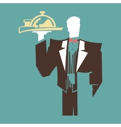 Silhouette of standing waiter holds a tray vector image