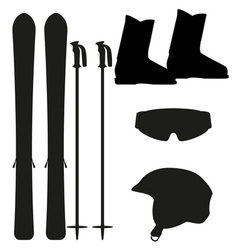 ski equipment icon set silhouette vector image vector image