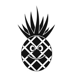 Smiling pineapple icon simple vector