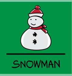 snowman hand-drawn style vector image vector image