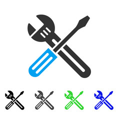 Spanner and screwdriver flat icon vector