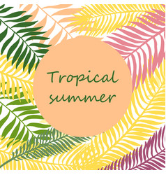 Summer time hand drawn tropic background vector