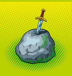 sword in stone comic book style vector image vector image
