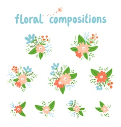 Vintage floral compositions collection vector image vector image