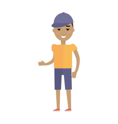 Young european man in t-shirt breeches and cap vector