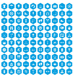 100 active life icons set blue vector