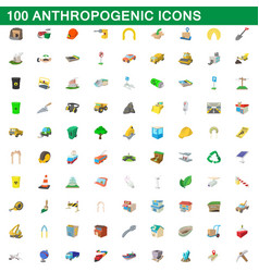100 anthropogenic icons set cartoon style vector