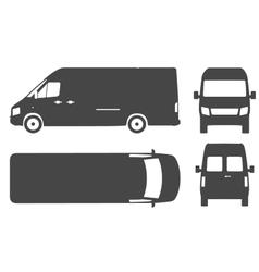 Commercial van bus silhouette icon vector image