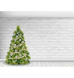 Christmas tree on white brick wall background vector