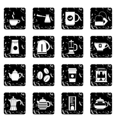Tea and coffee set icons grunge style vector