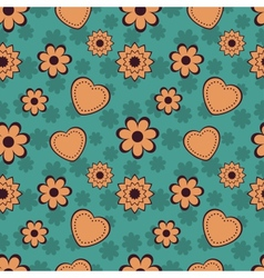 Flowers and hearts seamless pattern vector