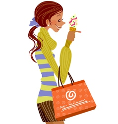 Woman with ice cream vector