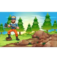 A woodman holding an axe near the rocky area vector image