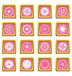 Photo diaphragm icons pink vector