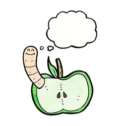 Cartoon apple with worm with thought bubble vector