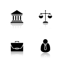 Law drop shadow icons set vector
