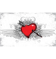 Heart with floral wings and grunge vector