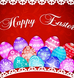 Postcard at easter eggs and ornament vector