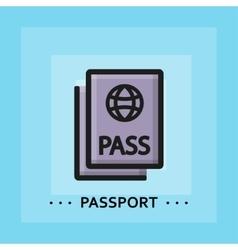 Flat passport icon vector