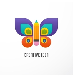 Education learning icon - butterfly and pencil vector